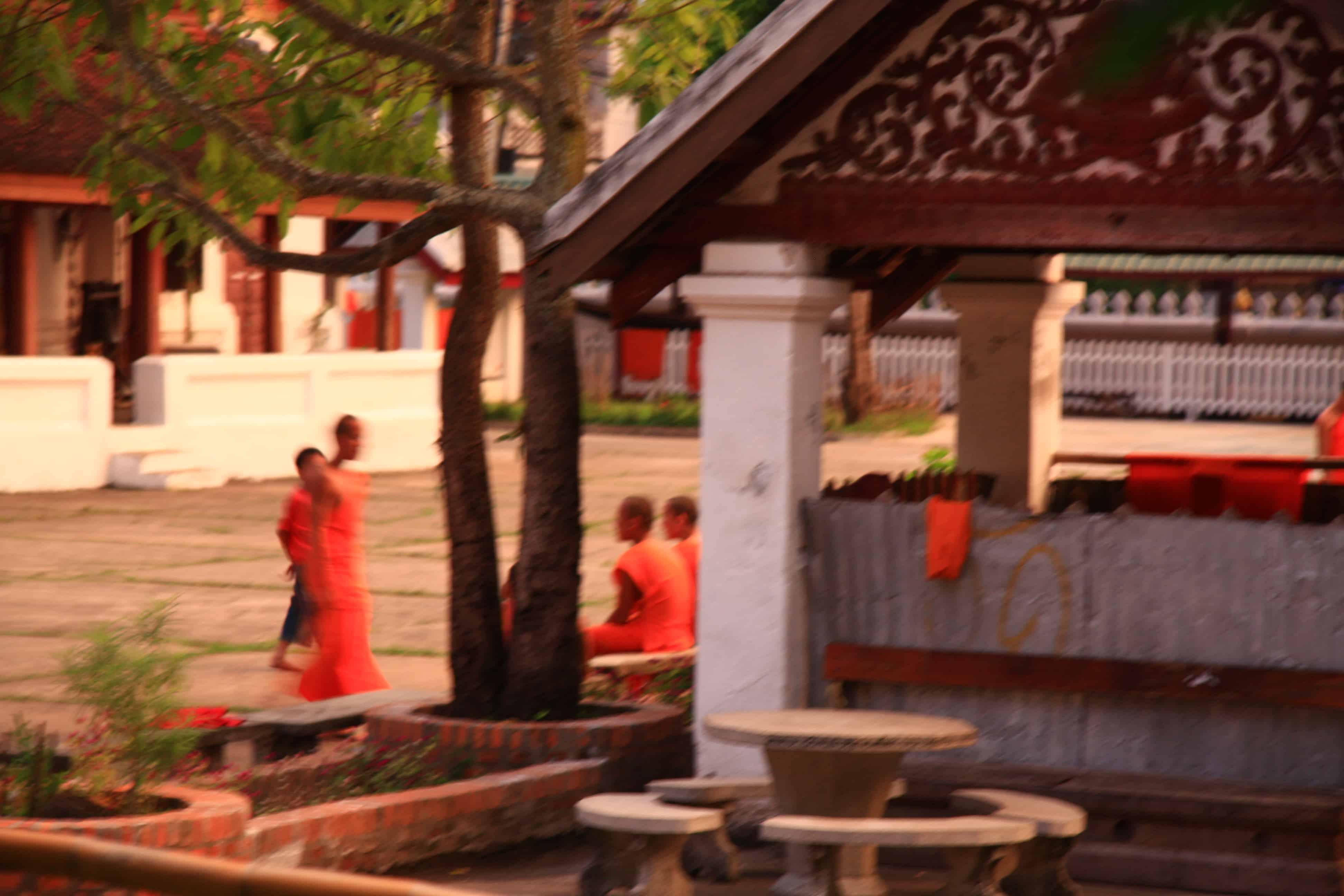 Mönche im Tempel von Luang Prabang